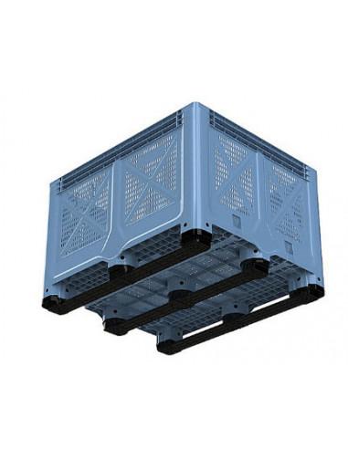 Caisse plastique 1200x1000x785 – 692 L – 3 semelles – Ajourée