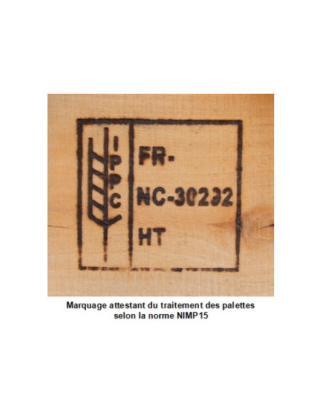 Palette Europe bois, neuve, EPAL et traitée NIMP 15